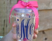 Monogram Tumbler (made to order) Weddings/birthday/monogram/name/anything