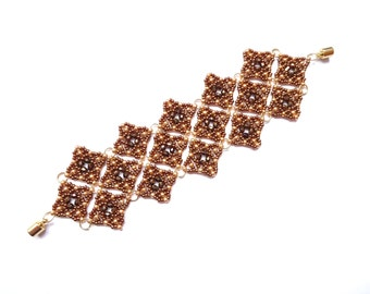 Mailye Bracelet - Brown and Gold Seed Beads - Firepolished Beads