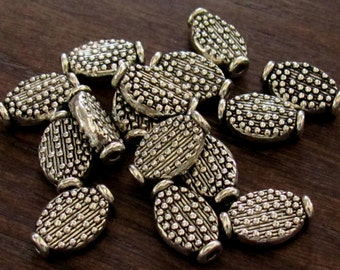 Pewter Beaded Detail Flat Oval Spacer Beads - Set of 24