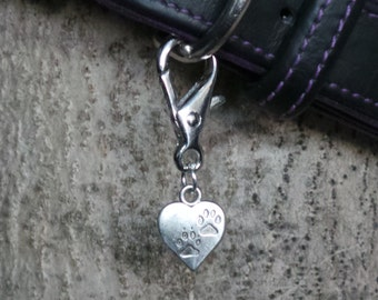 Heart with Paws Dog Collar Charms