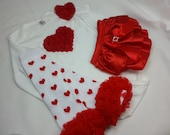 RED VALENTINE OUTFIT, Red Heart Onesie, Red Ruffle Bloomer, Matching Heart Headband and Ruffle Leg Warmers, Baby Girls Valentines Day Outfit