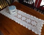 Vintage 41 inch Crocheted Ecru Table Runner Doily Handmade Flower Design Dresser Vanity Scarf Cottage Primitive Farmhouse Shabby Decor
