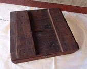 Early Primitive Handmade Antique Wood Box Divided with Sections and Old Nails Cabin Rustic Farmhouse Decor Storage Display