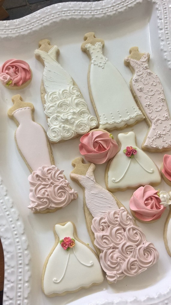 Pink And White Wedding Entourage Dress Cookies 10 Bridal Shower Bridesmaids Gifts Spring