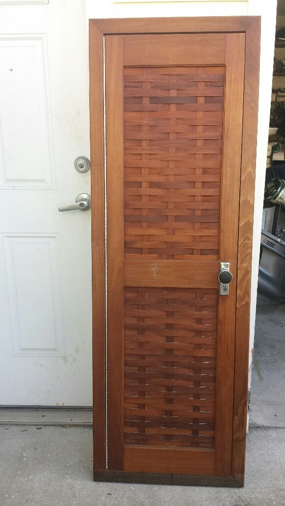 Vintage matching teak boat double door box tambour door wall for Boat cabin entry doors