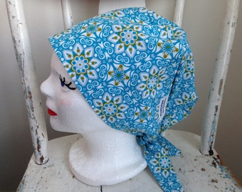 Scrub Hat Tie Back Pixie Style Turquoise and Green Medallion