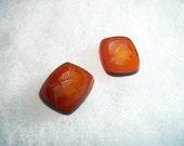 Vintage  Amber Roman Men Glass Intaglio/Cabochon x 2    # LLL 14