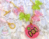 Candy necklace resin pendant bows and ribbon