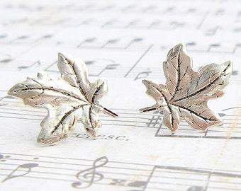 Antique Silver Maple Leaf post earrings