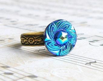Metallic Blue Pinwheel - adjustable vintage 1920's glass button ring