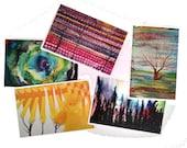 Set of 5 Tree Art Postcards, Free Shipping