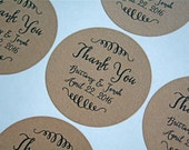"Wedding thank you labels, personalized stickers, envelope seals. 2"" round stickers, 20. Matte white or Kraft brown."