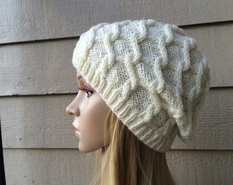 Hand knitted antique white hat, diamond cable pattern