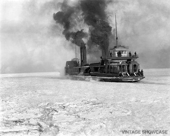 Vintage Photo Steamboat Crossing Detroit River - Steamer - Old Photo