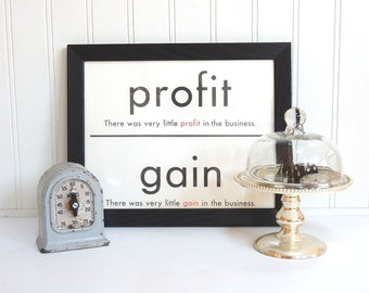 VINTAGE FLASH CARD - Profit Gain - Synonym - Art Print - Room Decor - 11 x 14 - Black White - Industrial - Sign