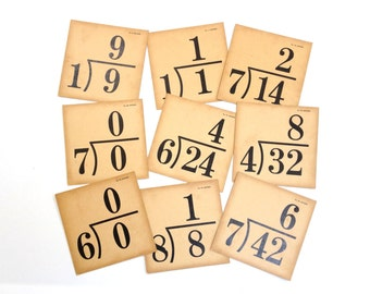 Vintage FLASH CARDS - Division - Mathematics - 16 - Black White - Numbers - Back to School