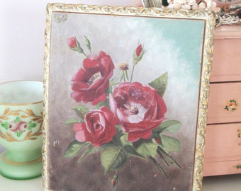 VINTAGE OIL PAINTING - Pink Floral on Paper Mache Board - Gesso Like Frame - Flowers - Floral - Shabby Cottage - Chic Antique