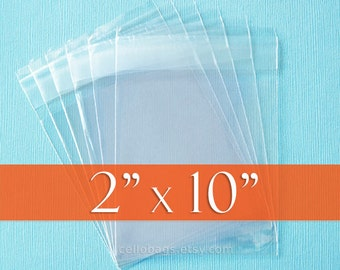 """500 2"""" x 10"""" Cello Bags, Resealable Clear Cellophane OPP Packaging, Acid Free (2x10 Inch)"""