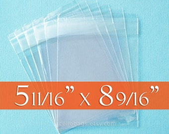 "200 Clear Resealable Cello Bags: 5 11/16  x 8 9/16"" Inch, Acid Free, for Half, or Folded, 8.5 x 11"" Sheet of Paper."