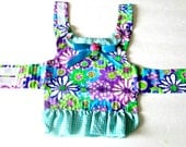Seersucker Small Dog Harness Dress with Turquoise, Lime, Magenta, Purple and White Flower Print Custom to Fit Yorkie- or Chihuahua-Size