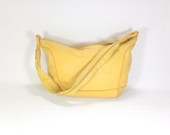 Mustard Leather Hobo Bag - Yellow Leather Bucket Bag - Slouchy Leather Purse