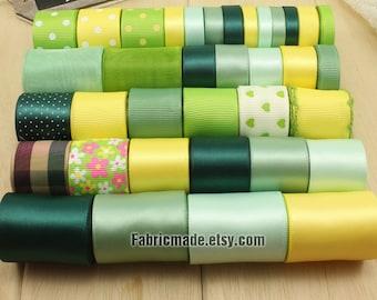 35 Yards Satin Grosgrain Ribbon Lot - 1 yard each of Green, Yellow Solid Polka Dot Flower Ribbon