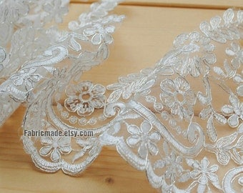 """White Corded Lace Trim Silvery Edges, Alencon Lace Applique, Garter Lace, Wedding Embroidered Lace, Bridal Lace - 5"""" 13cm Width One Yard"""