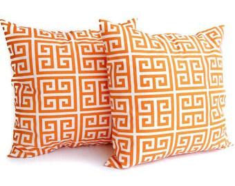 Orange throw pillow covers set of two 18 x 18 Greek Key pattern