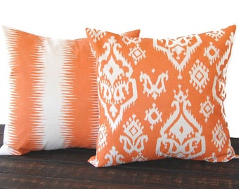 Pillow cover Pair of Two cushion covers in orange natural ikat modern throw cushion decor