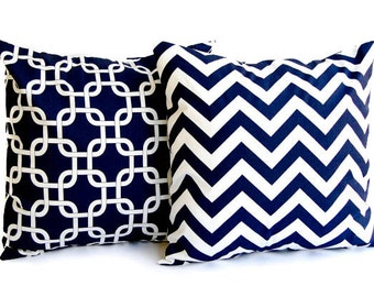 Pillow covers set of two Navy Chevron zig zag and Navy Gotcha