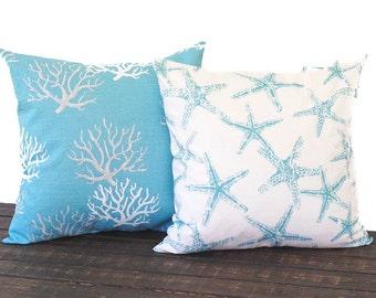 Coastal Blue pillow cover pair of Two cushion covers in coastal light seafoam blue and white throw pillow ocean beach decor