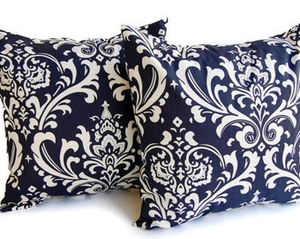 Navy pillow covers set of two navy blue and white throw pillow covers cushion covers pillow shams