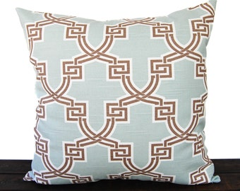 Throw pillow cover cushion cover brown light blue white pillow case Hiro print