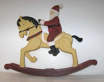 Large wooden Santa and Rocking Horse, Vintage Primitive Folk Art, Home Decor, Christmas Decoration