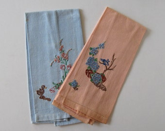 SALE, 2 Antique Floral Embroidered Dish Towels, Home and Living, Home Decor, Shabby Chic, vintage hand towels
