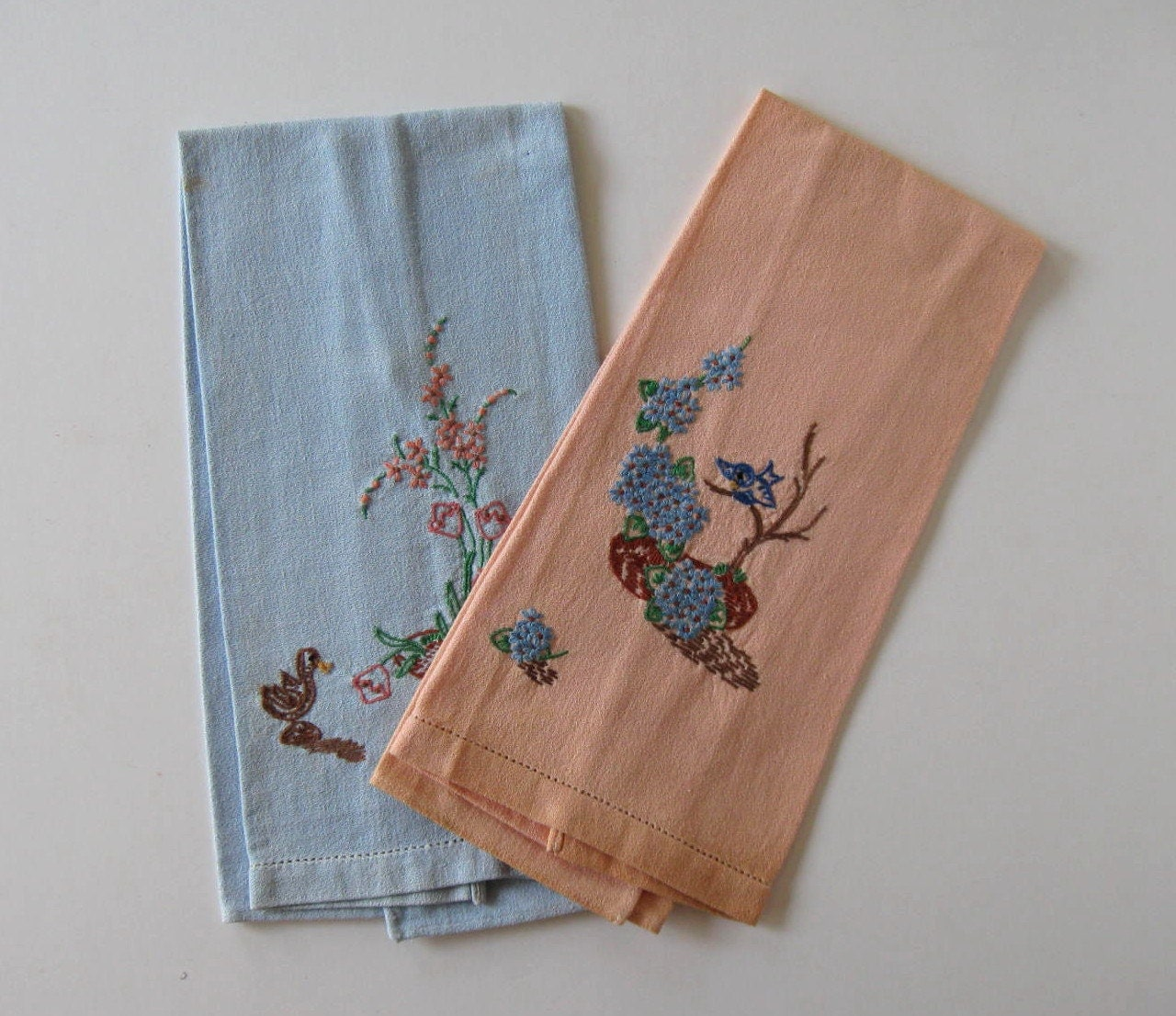 SALE 2 Antique Floral Embroidered Dish Towels Home And