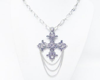 Large Gothic Silver Plated Filigree Cross Pendant Necklace