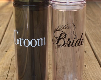 Bridal Tumbler Set - Bride and Groom, Mr & Mrs, or His and Hers - includes 2 tumblers