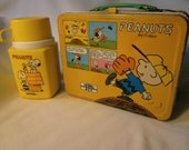 1985 Peanuts with comic strip metal Lunch Box with Thermos