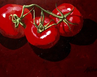 Tomato Still Life, Fine Art Painting, Country Kitchen Decor, Fine Art Still Life, Tomato Painting