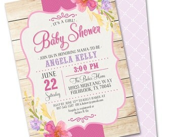 Summer Baby Shower Invitation Country Wood Summer Flowers Shabby Chic Baby Girl Sip and See Rustic Baby Sprinkle, Any Event