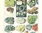 1922 Vintage gemstones poster gemstones print geology poster minerals poster mining  minerals French dictionary