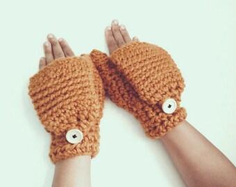 Crochet fingerless mittens, Convertible winter mittens -  The CERYS - Warm winter mittens