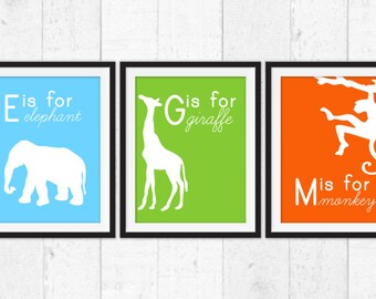 Jungle Animals art prints, elephant giraffe monkey Art, Kids Decor, Kids Wall Art, Baby Decor, Nursery prints, jungle nursery wall decor