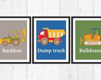 Construction decor, backhoe bulldozer dump truck prints, boys bedroom art, construction wall art, trucks posters, boys nursery decor