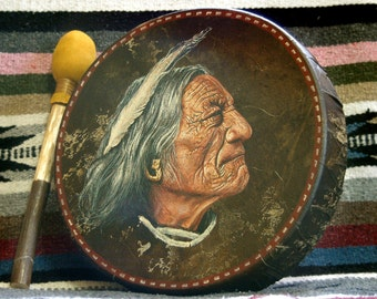 Handmade Hand Painted Native American Style Hoop Drum - SIOUX CHIEF