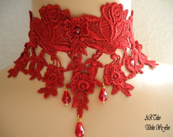 Victorian Necklace Gothic Women Jewelry Costume Collar red romantic lace -ROUGEFLower-