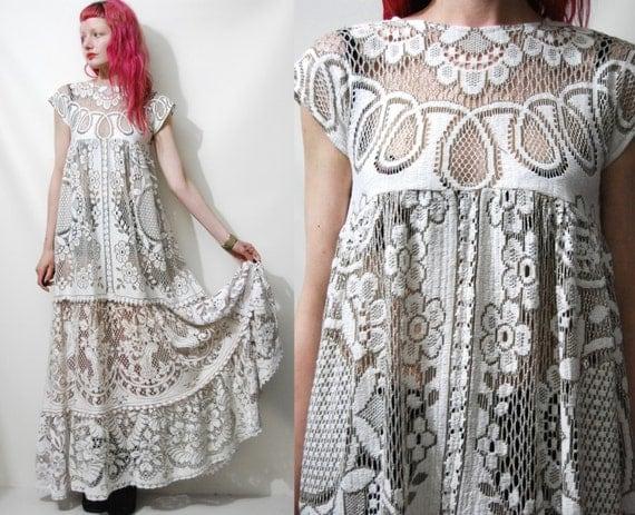 Lady Angel Free Shipping Short Beige Chiffon Bridesmaid: FULL LACE Babydoll DRESS Long White/Beige Handmade Ooak Cotton
