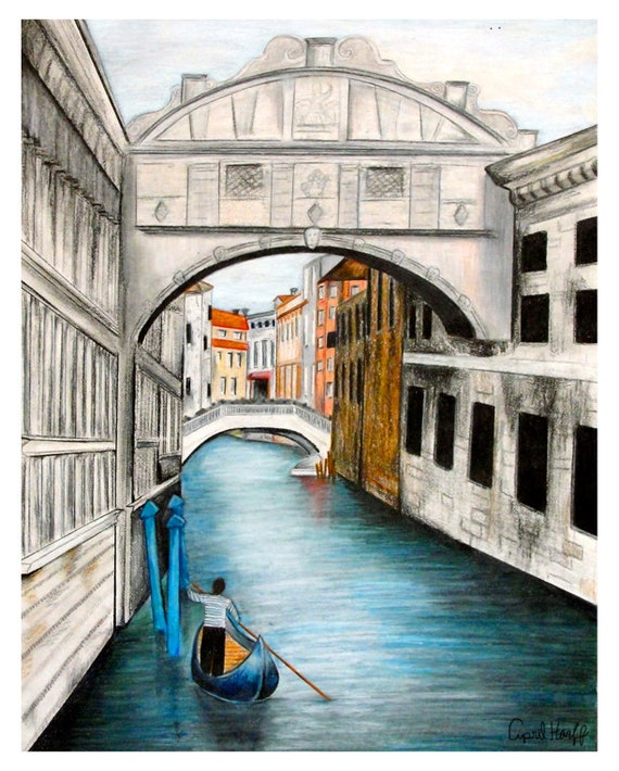 Line Drawing Venice : Venice waterways pencil drawing print by aprilmarionart on