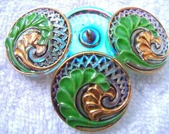 Czech  Glass Buttons  4 pcs   Gorgeous  24K gold   27 mm     IVA 043